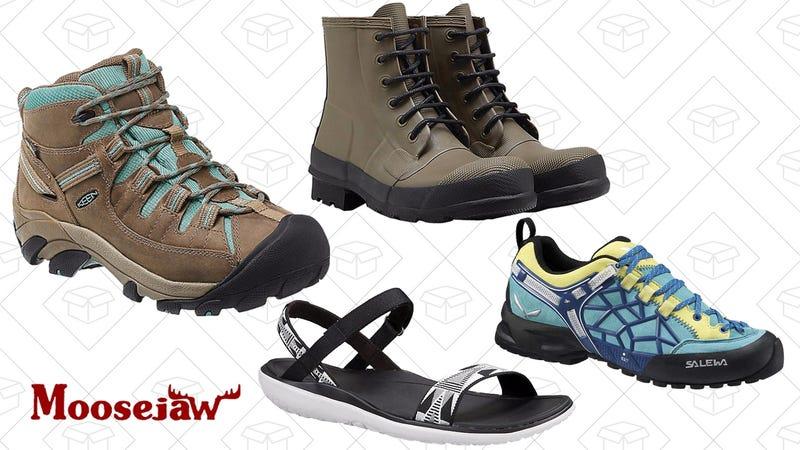 Keen Women's Targhee II Mid Waterproof Shoe, $86 | Hunter Men's Original Rubber Lace Up Boot, $103 | Teva Women's Terra Float Nova Sandal, $54 | Salewa Women's WS WIldfire Pro Shoe, $119