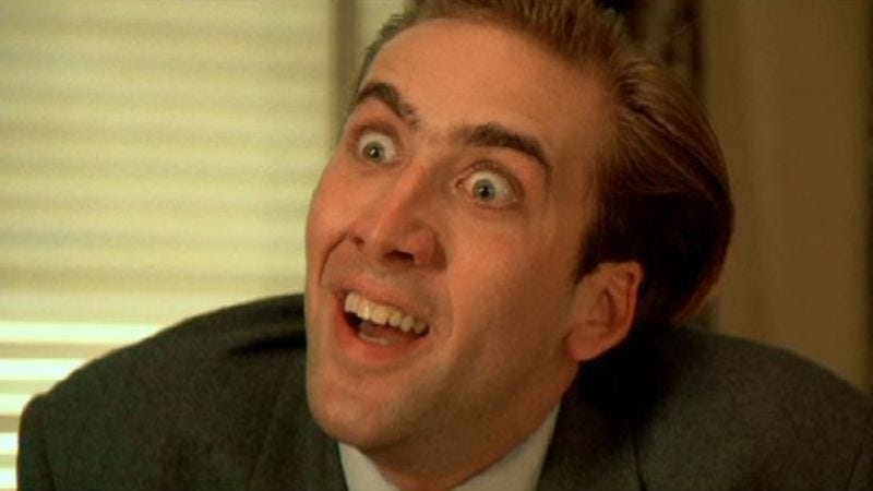 Illustration for article titled Nicolas Cage loses his mind for real