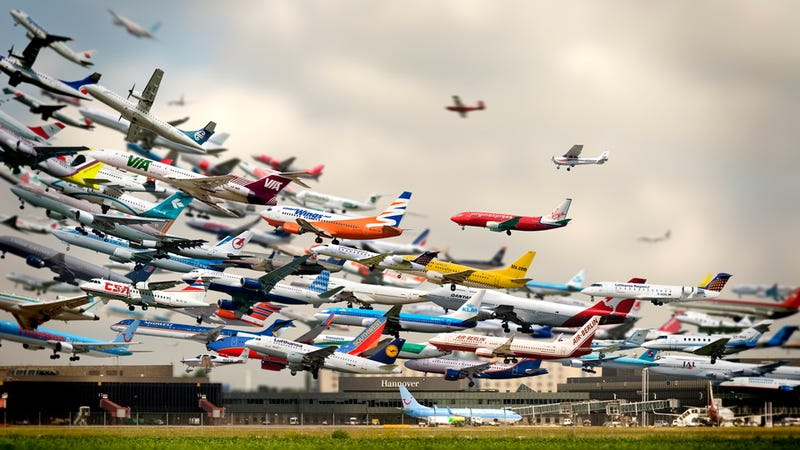 Illustration for article titled This Amazing Multiple Exposure Hannover Airport Takeoffs Photo Is Not Real