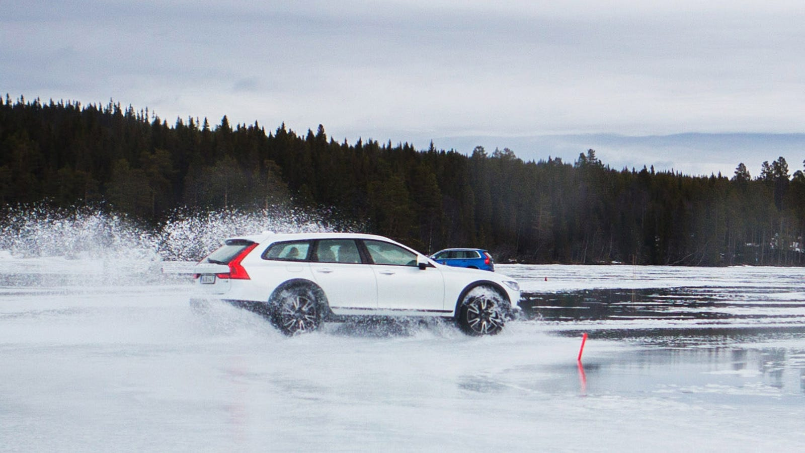 Driving A Volvo V90 Cross Country Across A Frozen Lake Was