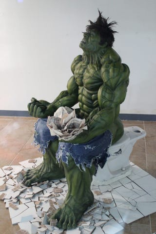 using the bathroom. Apparently there s a mall in Seoul where shoppers can ponder the  biomechanics of The Incredible Hulk relieving himself an act that requires seismologist In South Korean you see using