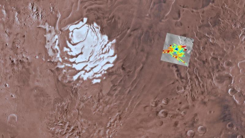 Imagen de la región donde se encuentra el agua (el azul representa agua líquida).