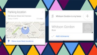 Illustration for article titled Google Now Adds Parking Detection, Manages Your Custom Nicknames