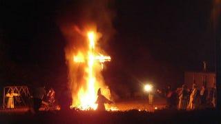 A Ku Klux Klan cross-burningWikipedia.com