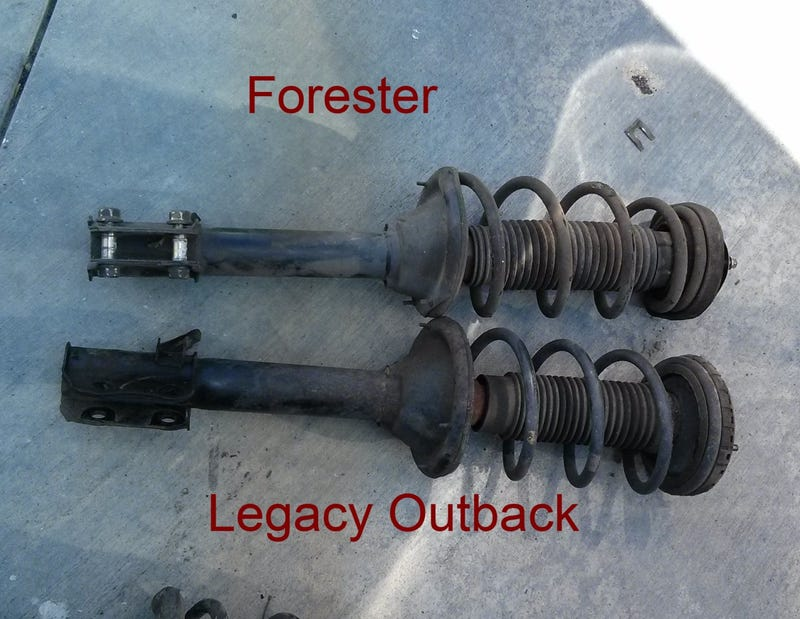 Subaru strut swap - Forester struts on a BG Outback
