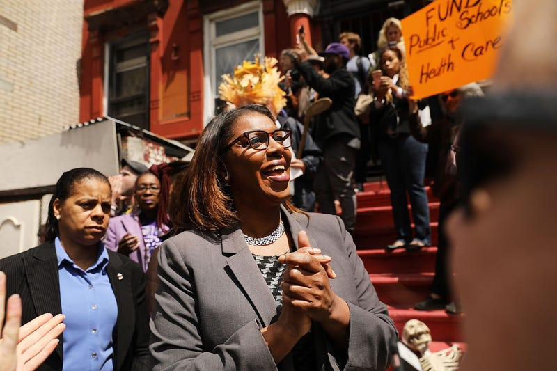 Letitia James joins dozens of healthcare activists protesting in front of a Harlem charter school before the expected visit of House Speaker Paul Ryan on May 9, 2017, in New York City.