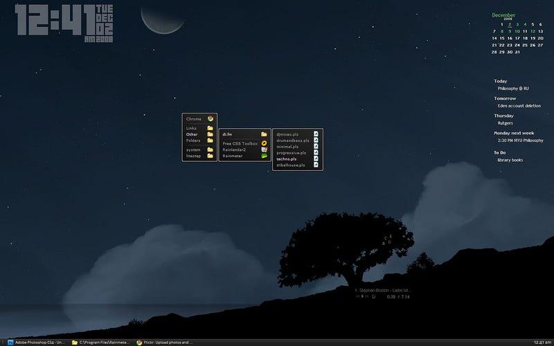 Illustration for article titled The LiteStep at Night Desktop