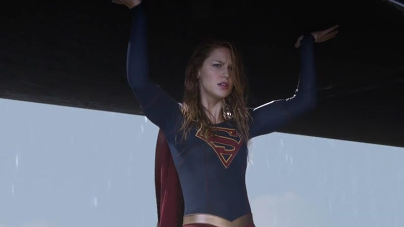 Melissa Benoist doing the heavy lifting as Supergirl.