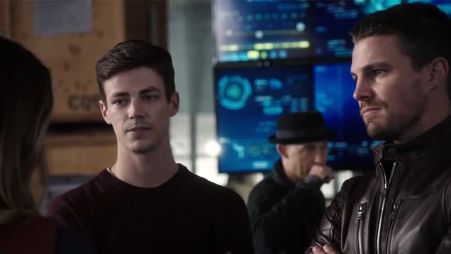 barry allen tries and fails to be the team leader in a new dc crossover clip