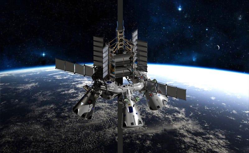 Concepto artístico de la estación en órbita de un futuro ascensor espacial