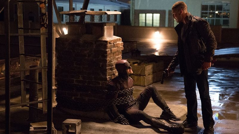 Illustration for article titled Daredevil impresses as Matt has a chained-up chat with The Punisher