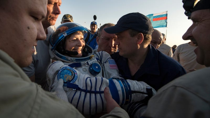 Peggy Whitson is helped out of the Soyuz MS-04 spacecraft in Kazakhstan, Sunday, Sept. 3, 2017. Image via the AP.