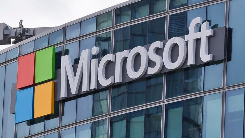 A Microsoft logo in Issy-les-Moulineaux near Paris, France.