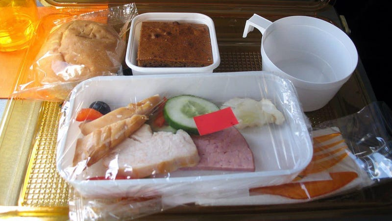 A sad-looking airline meal