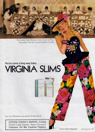Illustration for article titled The 1980s Tries to Use Women's Love Of Wacky Pantsuits to Sell Them Cigarettes