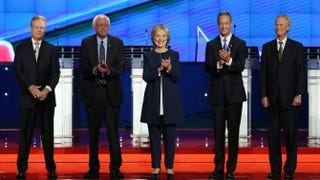 Jim Webb, Bernie Sanders, Hillary Clinton, Martin O'Malley and Lincoln Chafee take the stage for the first Democratic presidential primary debate Oct. 13, 2015, in Las Vegas.Joe Raedle/Getty Images