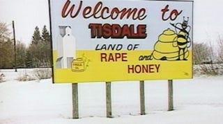 "Illustration for article titled Saskatchewan Town Reconsiders""Land of Rape and Honey"" Slogan"