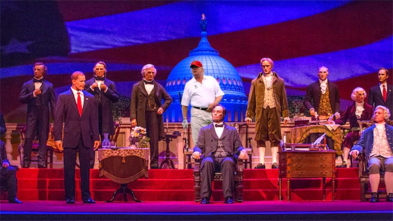 An artist's depiction of every Disney fan's worst nightmare, a robotic Donald Trump at Walt Disney World's Hall of Presidents