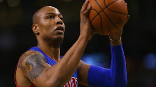 Caron Butler of the Detroit Pistons shoots a free throw during the first quarter of a game at TD Garden in Boston March 22, 2015.            Maddie Meyer/Getty Images