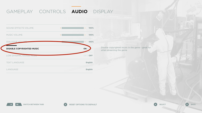 The audio options in Quantum Break.
