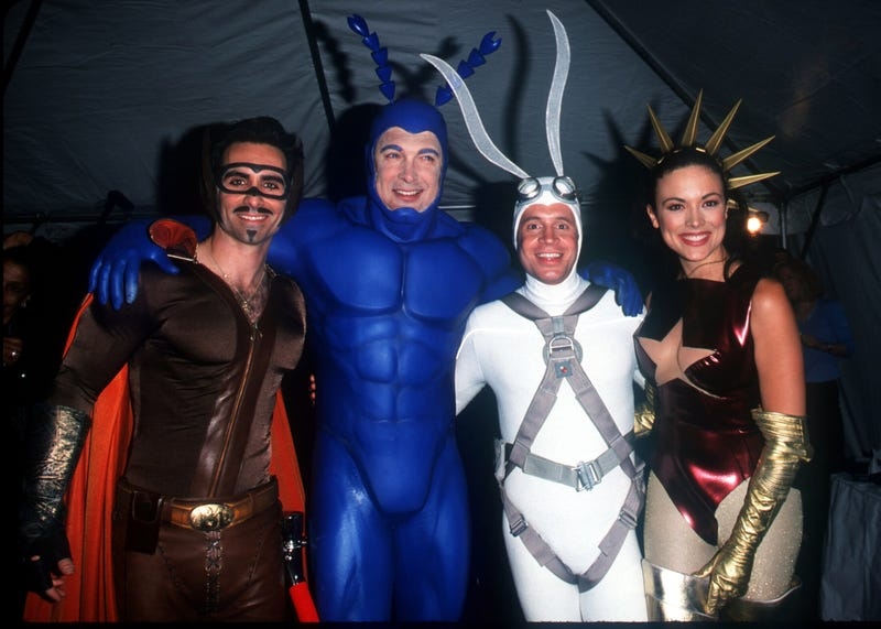 Photo: Nestor Carbonell (left), Patrick Warburton, David Burke, and Liz Vassey in costume at Fox's 2000 upfront presentation (Photo: Evan Agostini/Getty Images)