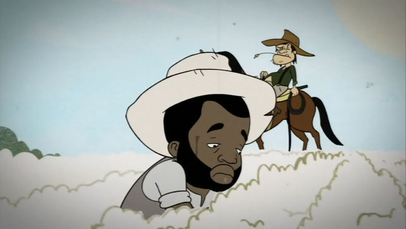 Black Thought of the Roots depicted as a slave in a cartoon about Juneteenth on Black-ish (ABC screenshot)