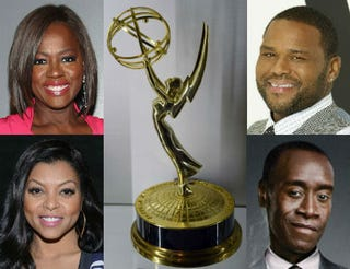 Top row: Viola Davis (Christopher Polk/Getty Images); Emmy trophy (Ethan Miller, Getty Images); Anthony Anderson (ABC). Bottom row: Taraji P. Henson (Noam Galai/Getty Images); Don Cheadle (Showtime).