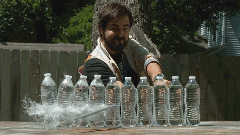 photo image Super Slo-Mo Footage of Swords Slicing Water Bottles Will Satisfy Your Ninja Fantasies