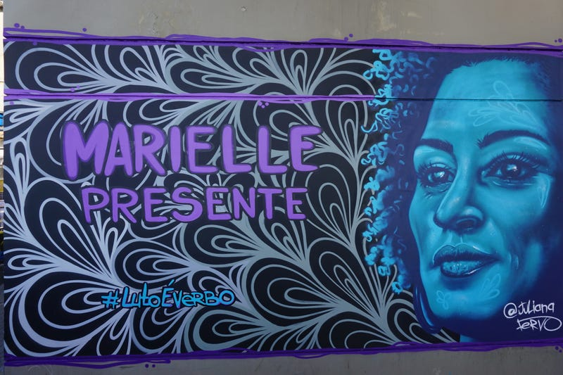 Artists like Juliana Fervo have painted murals of Marielle Franco across Rio de Janeiro.