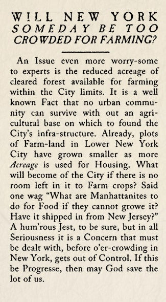 Illustration for article titled Historical Archives: Will New York Someday Be Too Crowded For Farming?