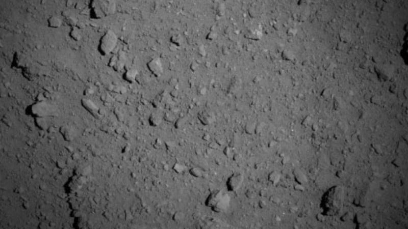 Ryugu's surface as seen from a distance of about 0.6 miles (1 km)
