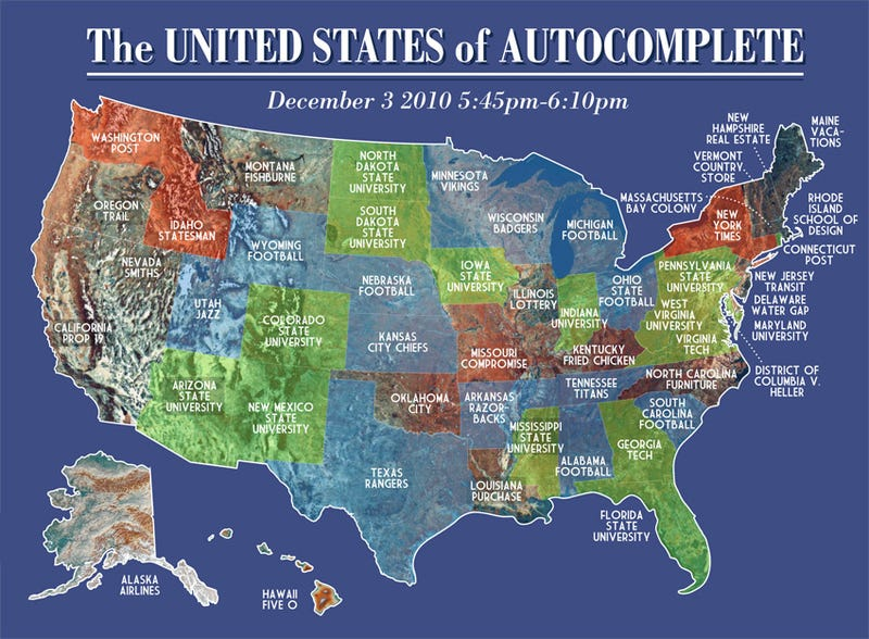 Google Autocomplete Redefines US Map - Us map with universities