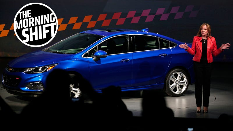 Mary Barra shows off the Cruze in 2016. Photo: Getty Images