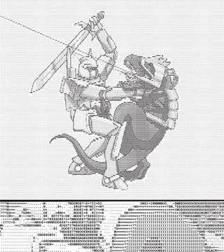 Illustration for article titled Knight Vs. Cyberdragon ASCII Art Tee Is Burnanatingly Awesome