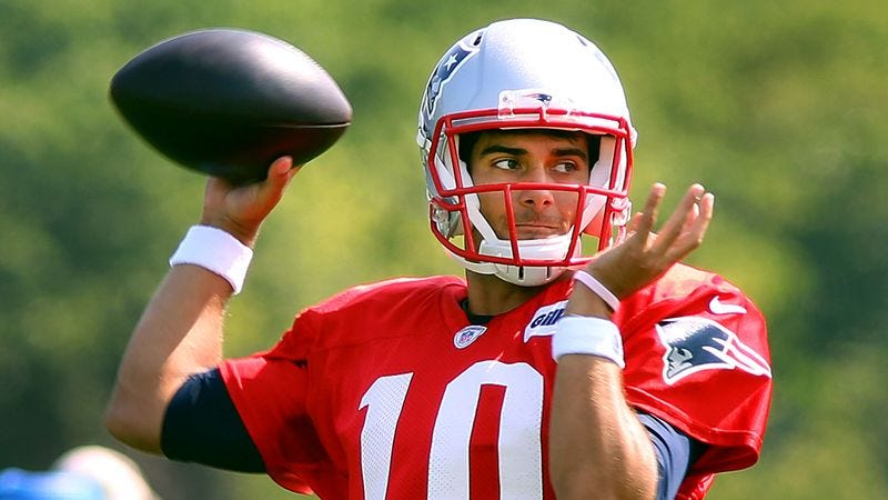 Illustration for article titled Patriots Tired Of Jimmy Garoppolo Beginning Every Huddle With 'This Is My Team Now'
