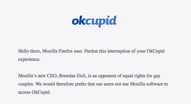 OKCupid Website Blocks Firefox Because of Mozilla CEO's Anti-Gay Beliefs