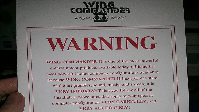 Illustration for article titled Wing Commander II Took Its Installation Guide Very Seriously