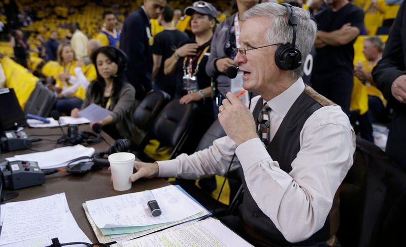 Breen broadcasting the 2015 NBA Finals. (Photo Credit: Ben Margo/AP.)
