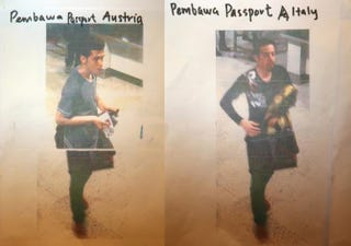 This composite of images #477770287 & #477770285 shows cctv imagery released by police of an Iranian suspect, Pouria Nour Mohammad Mehrdad, who was travelling on Flight MH370 with a stolen Austrian passport, (L) and an unindentified suspect who was travelling on Flight MH370 with a stolen Italian passport (R), on March 11, 2014 in Kuala Lumpur, Malaysia. Officials have expanded the search area for missing Malaysia Airlines flight MH370 to include more of the Gulf of Thailand between Malayisa and Vietnam and land along the Malay Pensinusula. The flight carrying 239 passengers from Kuala Lumpur to Thailand was reported missing on the morning of March 8 after the crew failed to check in as scheduled. Relatives of the missing passengers have been advised to prepare for the worst as authorities focus on two passengers on board travelling with stolen passports.Photo by How Foo Yeen/Getty Images