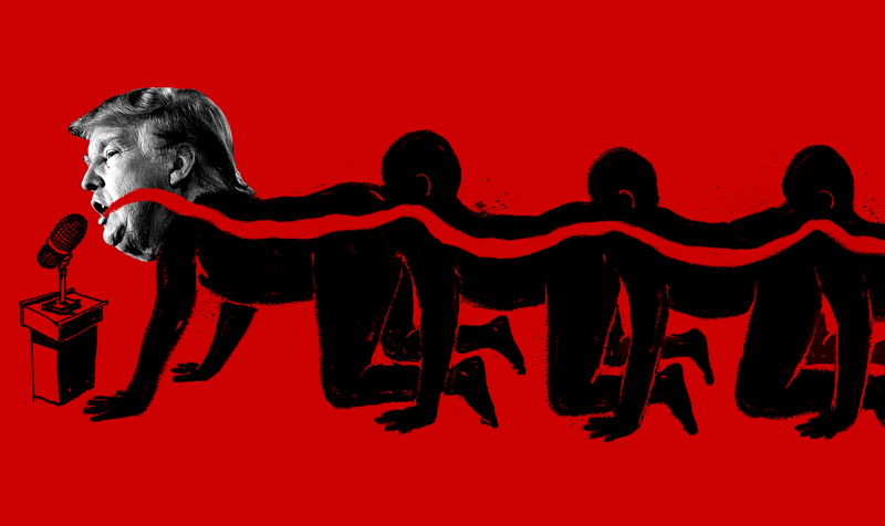 Illustration for article titled The Media Is Locked in a Disgusting Human Centipede with Donald Trump