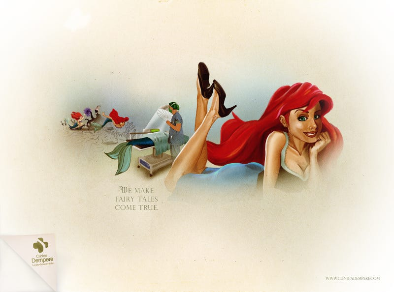 Illustration for article titled The Little Mermaid goes under the knife in these Disney Princess plastic surgery ads