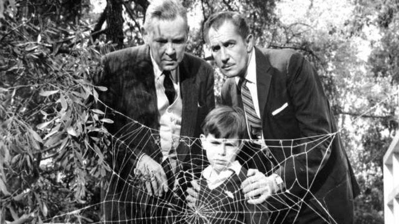 A young Charles Herbert (center), with Herbert Marshall and Vincent Price, in The Fly