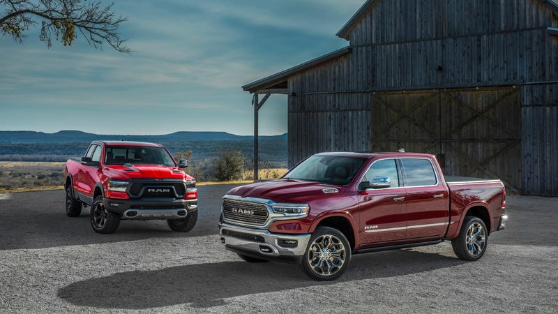 Two trims of the 2019 Ram 1500, the Rebel and Limited.