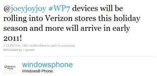 Illustration for article titled Windows Phone Twitter Says Verizon Will Get Windows Phone 7 This Holiday
