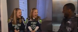 Derrick Coleman surprises twins Riley and Erin Kovalcik. YouTube