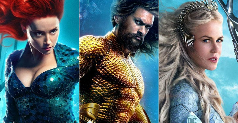 Mera, Arthur, and Atlanna in posters for Aquaman.