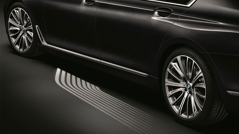 Illustration for article titled BMW's New 7 Series Illuminates a Path To Your Car's Door at Night