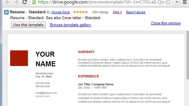 use google docs resume templates for a free good looking resume - Google Doc Template Resume