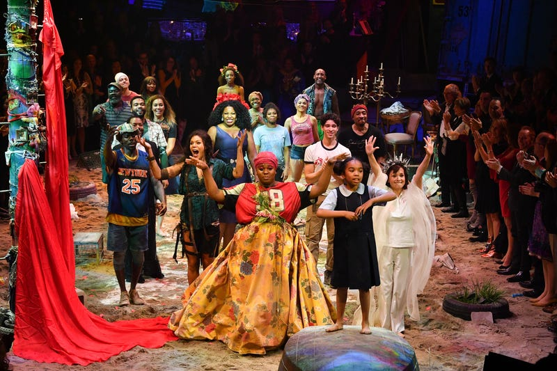 The cast members of Once on This Island take their curtain call during the Broadway opening night at Circle in the Square Theatre on Dec. 3, 2017, in New York City. (Dia Dipasupil/Getty Images)