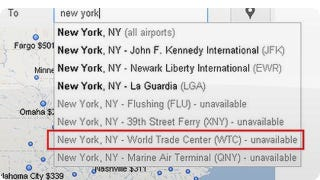 Illustration for article titled Google Flight Search Listed the WTC as a Destination Airport